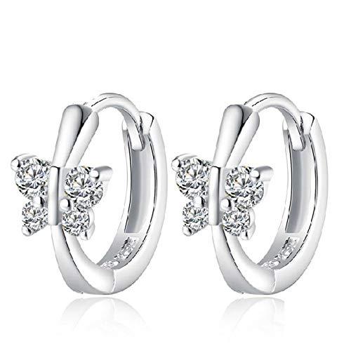 Cute Solid 925 Sterling Silver White Cz Butterfly Stud Earrings For Women Child Girls Kids Bridal Wedding Jewelry