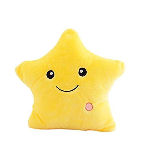 Mystery&Melody LED Star Pillows Glowing Luminous Light Up Soft Flashing Light Cushions Wonderful Nursery Room Pillows Kids Plush Toys Christmas Halloween Party Decorations (Yellow-2)