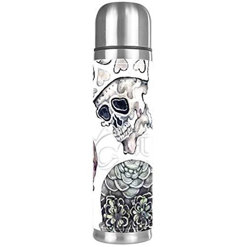 Termo Cup Crown Skull de acero inoxidable de alta calidad para hombres y mujeres para hacer tazas de té, ir a llevar la taza, gran capacidad 500 ml portátil