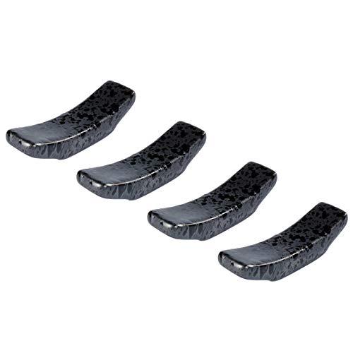 Poggia Bacchette in Ceramica Set di 4 Supporto per Bacchette, Cucchiai, Forchette e Coltelli (Nero)