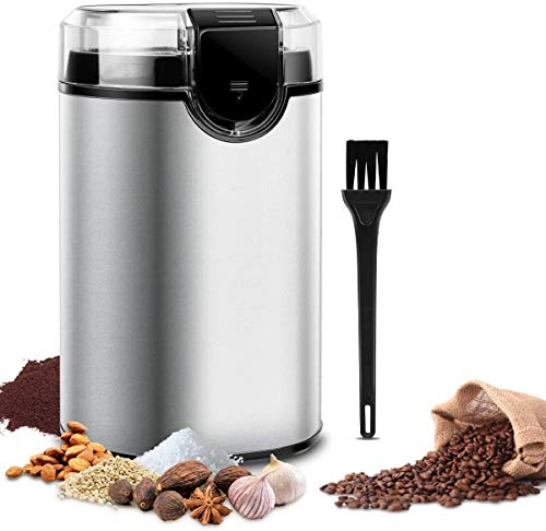 Keenstone Coffee Grinder, Electric Coffee Bean Grinder, Stainless Steel Spice Mill Grinder with Noiseless Motor, Cleaning Brush for Grinding Spices, Pepper, Herbs, Nuts (150W 70g /2.5oz Capacity)