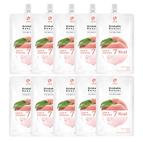 Jelly.B Drinkable Konjac Jelly (10 Packs of 150ml) - Healthy and Natural Weight Loss Diet Supplement Foods, 0 Gram Sugar, Low Calorie, Only 6 kcal Each Packets, (Peach)