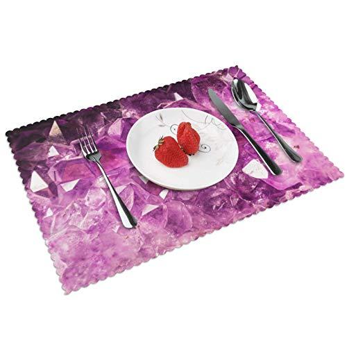 GHRSGBHST Durable - Juego de 4 manteles individuales lavables de 30 x 45 cm, antideslizantes, resistentes al calor, para cocina, comedor, fiesta, decoración del hogar, piedra preciosa violeta