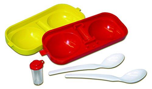 Maulwurfshop Eierbehälter Eierträger Eierbox 2-Fach mit Salzstreuer & Löffel rot/gelb Idealer Picknick Begleiter DDR Ostalgie
