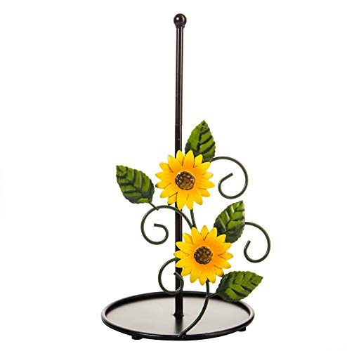 Sunflower Paper Towel Holder - Sunflower Kitchen Decor and Accessories for Decorations - Farmhouse Paper Towel Holder Stuff - Black Metal Rustic Stand for Countertop