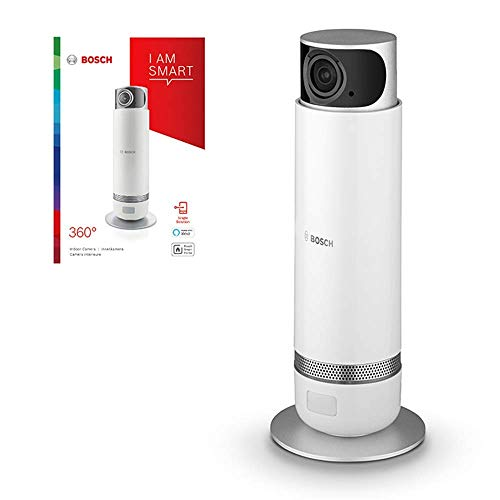 Caméra de surveillance sans fil WiFi Bosch Smart Home (détection panoramique à 360° par rotation, compatible avec Alexa, pour utilisation intérieure)