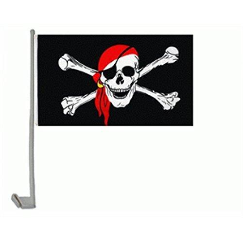 Auto-Fahne: Pirat mit rotem Kopftuch
