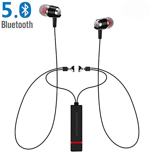 Bluetooth 5.0 Wireless Sports Neckband Magnetic Headphones M7 Earphones w/Mic HD Stereo Noise Cancelling Waterproof in Ear Earbuds Comfy Lightweight Fast Pairing for Gym Running Exercise Headsets