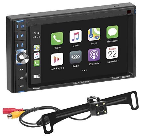 BOSS Audio Systems BCP62-RC Apple CarPlay Car Multimedia Player - Double Din, 6.2 Inch Capacitive Touchscreen, Bluetooth, USB, No DVD, Multi-Color Illumination, Backup Camera Included