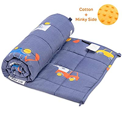 BUZIO Kids Weighted Blanket, Minky Dotted and Breathable Cotton Sided with Cartoon Patterns