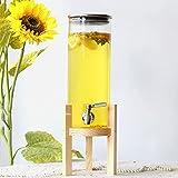 Yxx@ Dispensador Bebidas Botella Vidrio Dispensador de Bebidas de 1.8L 2.8L para Bebida Caliente o fría con Grifo y Soporte