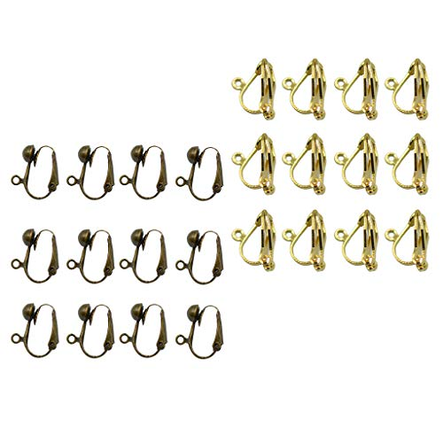 Harilla 24pcs Pendientes Hechos a Mano Joyas con Clip Pendiente Convertido Loop Finding Bronze,