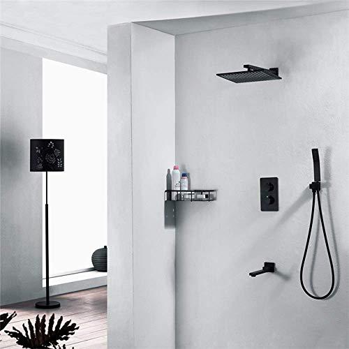 CY Cuarto de baño moderno Negro ducha termostática ducha de mano Sistema de cobre pre-incrustado ducha de la caja en la pared oculta del grifo de la plaza de pulverización superior 3 Función Hermoso p