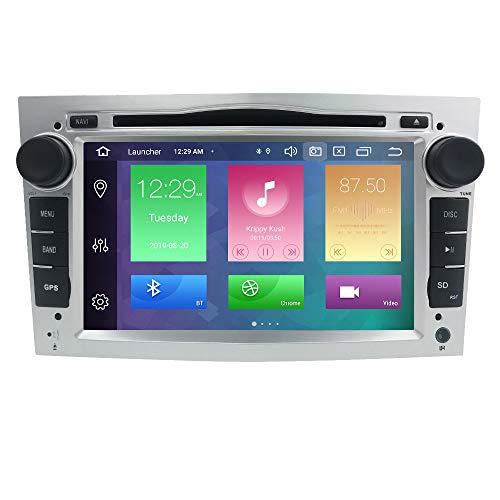 Dubbele geluidsauto stereo Android 9.0 7 inch touchscreen in dash GPS-navigatie ondersteuning WiFi Bluetooth spiegelverbinding SWC OBD voor Opel Antara Vectra Crosa Vivaro Zafira Meriva (zilver)