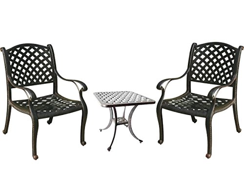 3 Piece Bistro Set Outdoor Nassau Cast Aluminum Patio Furniture 2 Chairs and 1 End Table