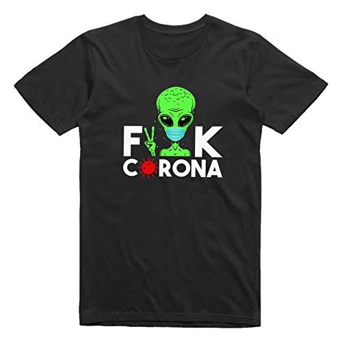 WGC Fuck The Virus Stay At Home Camiseta Negra, Elegante y novedosa para Hombre Size M