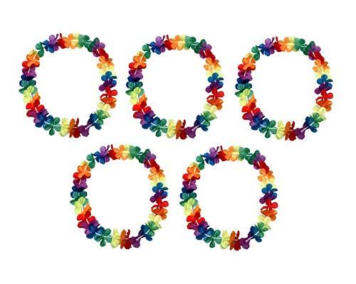 Sonnenscheinschuhe® 5 x Hawaii Blumenkette 96cm Halskette Fastnacht Sommer Party Deko Hawaiikette