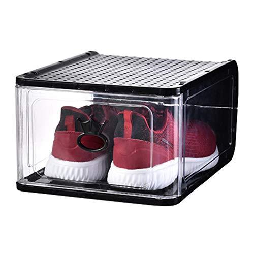 AIMCAE Cajas de Almacenamiento de Zapatos Transparentes de 4 Piezas, Caja de presentación de Zapatos apilable, gabinete de Zapatos Modular Plegable de Gran tamaño, fácil Montaje,Negro