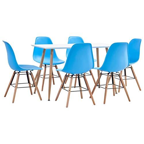Tidyard Mesa Salón y Sillas,Muebles de Jardin Exterior Conjuntos Juego de Comedor 7 Piezas plástico Azul