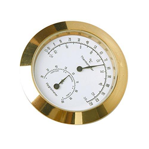 sharprepublic Goldene Runde Legierung Thermometer Hygrometer Für Gitarre Geigenkoffer