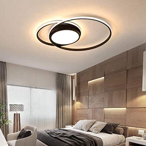 WANG-LIGHT Plafón De Techo Ronda Anillo LED Regulables con Control Remoto Lámpara De Techo Moderna Sala De Estar Lámparas De Mesa De Comedor,Negro,53 * 43cm 40W