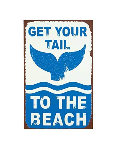 FJTP Wall Decorative Metal Sign Get Your Tail to The Beach Funny Fish Whale Retro Vintage Style Weathered Edge Design Aluminum Wall Sign Decoration Indoor Outdoor Bar Pub Home Farm Decor