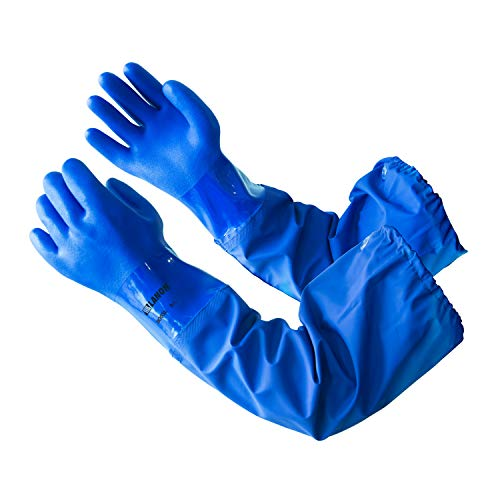 """LANON PVC Coated Chemical Resistant Gloves, Reusable Heavy Duty Safety Work Gloves, Acid, Alkali & Oil Protection, 26"""" Elbow Length, Large"""