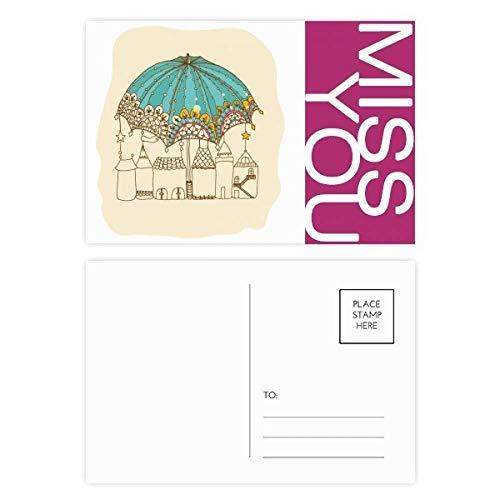 Kant Paraplu Huis Ster Regen Miss Postkaart Set Thanks Card Mailing Zijde 20 stks
