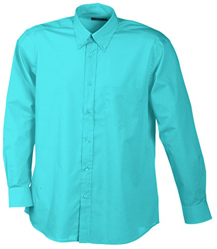 James & Nicholson Herren Men's Promotion Shirt Long-Sleeved Sporthemd, Türkis (Turquoise), Medium