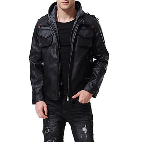 AOWOFS Men's PU Faux Leather Jacket Black with Hood Motorcycle Bomber Fashion Slim Fit (Medium)