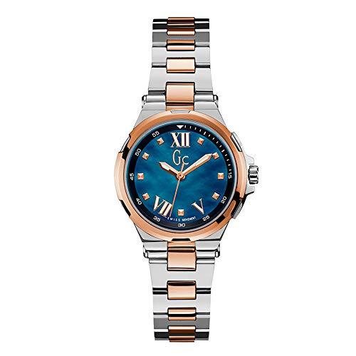 Guess Collection Structura dames roestvrij staal kwarts Rose goud en blauw wijzerplaat Zwitserse horloge, Y33001L7