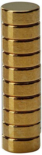 First4magnets F415G-10 4mm Durchmesser x 1,5 mm dicken Gold plattiert Therapie Magnet - Grübchen auf North Face - 0,36 kg ziehen (Packung mit 10), silver, 25 x 10 x 3 cm