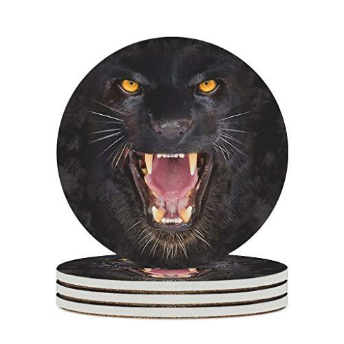 Posavasos de cerámica Big Panther duradero, base de corcho, posavasos para tazas de té, para el hogar, color blanco, 4 unidades