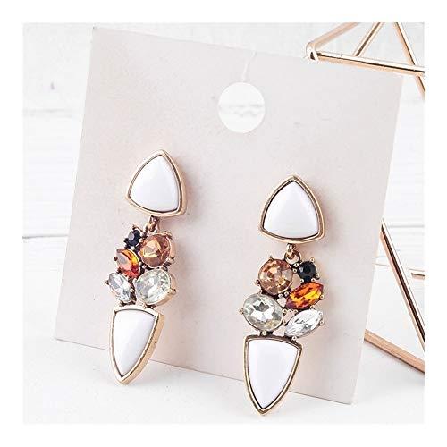 GSZPXF Joyería Pendientes de Oro del Color de la Vendimia de acrílico Blanco Colgante de Cristal Pendientes for Las Mujeres de Moda (Color : Ed01041)