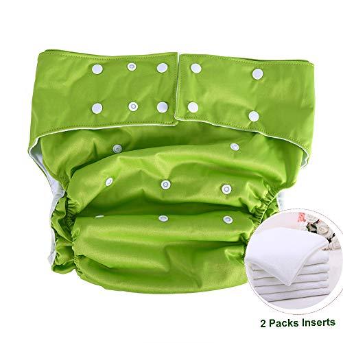 Jolie Diaper Couche Adulte Réutilisable Lavable Soins d'incontinence, Super Absorption Nappy sous-vêtements d'incontinence avec Inserts Couche de Tissu pour Les Personnes âgées,Green