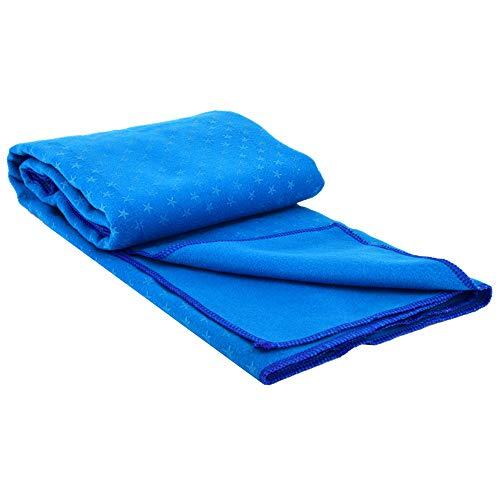 WAGX Yoga-Matte Handtuch, Mikrofaser-Yoga-Tuch mit Netztasche - Griffige, schweißabsorbierend, Plum Point-Entwurf - für Hot Yoga, Pilatus, Fitness und Bewegung,Blau