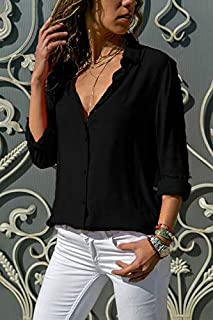 KTHGSBM shirt Women Tops Blouses Autumn Elegant Long Sleeve Solid V-neck Chiffon Blouse Work Shirts Office 6XL Black