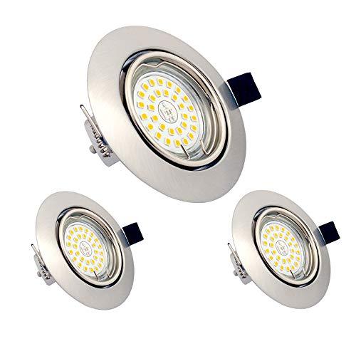 LED Einbaustrahler GU10 7W, 3er Set LED Deckenspot Schwenkbar 230V 3000K Warmweiß, 600lm, Runden Chrom gebürstet Deckeneinbauleuchten für Deckenspots Küche, Badezimmer, Wohnzimme