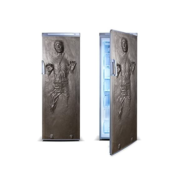 FridgeWrap: Han Solo in Carbonite Vinyl Sticker for Refrigerator 1 This FridgeWrap is 65 cm wide x 180 cm high (25.35 inches x 70.2 inches). Made from long-lasting outdoor sign vinyl. Our scratch-resistant matte laminate creates a stunning finish to your FridgeWrap and protects it from water, sun and oil. Designed to be easily cleaned and stand up to the heaviest wear and tear. Manufactured with tender loving care in our studio in Oxford, United Kingdom.