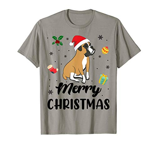 Merry Christmas Funny Xmas Boxer Dog Lover Gift T-Shirt