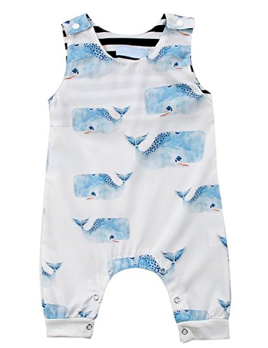 Pudcoco Toddlers Baby Boys Girls Sleeveless Cartoon Animals Print Romper Jumpsuit Summer Bodysuit (3-6M, White Whales)