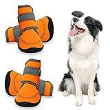 Zeraty Dog Shoes Patte Protégez Chaussures De Course pour Grand Chien avec Velcro Réfléchissant Réglable Semelle Anti-Slip...