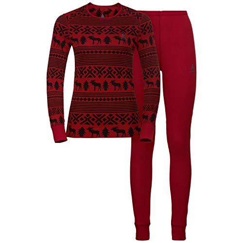 Odlo Damen Set Active Originals WARM Reindeer Wäscheset, Red Dahlia-Black, L