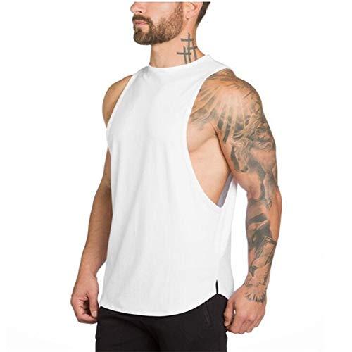Gym Stringer Clothing Bodybuilding Tank Top Hombres Fitness Singlet Camisa sin Mangas Algodón sólido Chaleco Muscular Camiseta - Blanco, XL