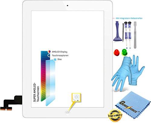 Premium Retina touchscreen glas digitizer wit voor iPad 2 scherm, Assembly met originele LVA flexibele kabel, Homebutton - incl. 9-in-1 professionele gereedschapsset van Best ® - WIT WHITE - NIEUW
