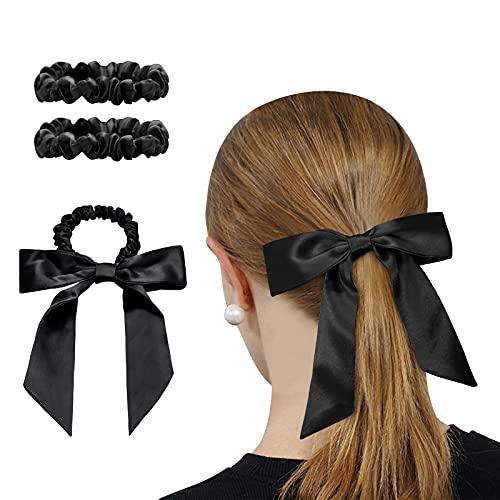 OLESILK 3er-Set 100% Seide Haargummis Kleine Scrunchies Haarschmuck Zopfgummi Haare Ringe Elastische Haarbänder Gummibänder mit Schleife, Schwarz