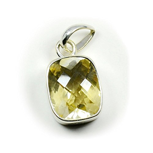 CaratYogi - Collar con Colgante de Citrino y Piedra natalicia de Plata de Ley con Bisel