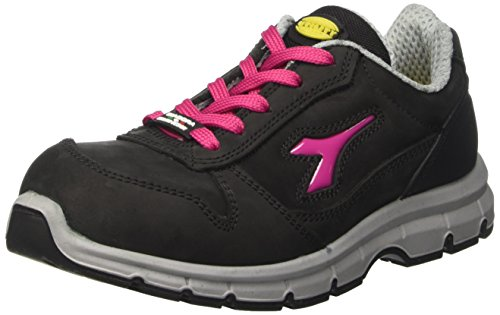 Diadora - Run Low S3, zapatos de trabajo Unisex adulto, Negro (Nero/rosso Fucsia), 38 EU