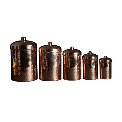 Sertodo Kitchen Cannisters, Complete 5 piece set, Pure Copper, Heavy Gauge
