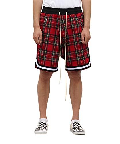 Pantalones Cortos de Estilo escocés para Hombres Pantalones Cortos de Hip-Hop Casuales al Aire Libre Deportivos de Baloncesto de celosía Retro para Hombres